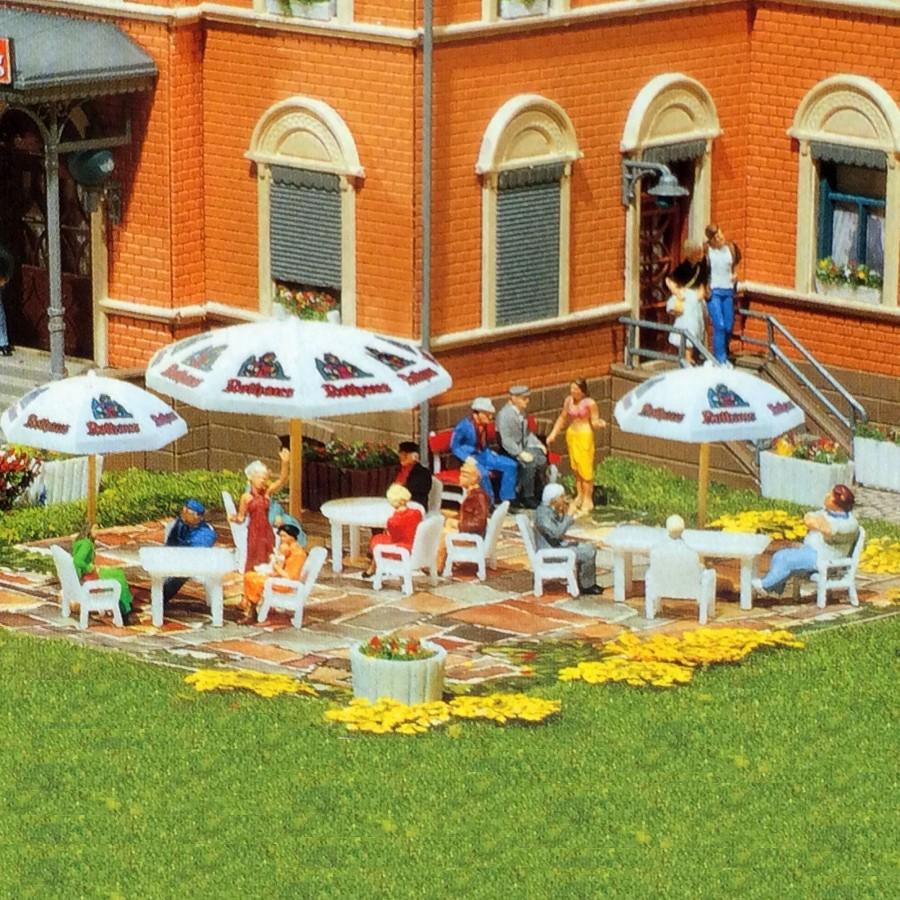 set 8 parasols de jardin ou terrasse ho 1 87 faller 180440. Black Bedroom Furniture Sets. Home Design Ideas