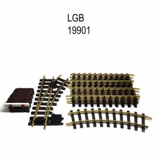 Coffret de rails avec butoir et aiguillage train de jardin -G-1/28-LGB 19901