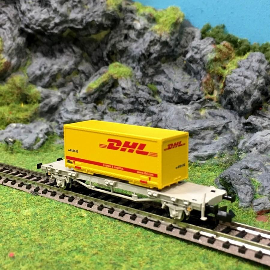Wagon porte conteneur dhl 2 essieux sbb epvi n 1 160 for Porte conteneur
