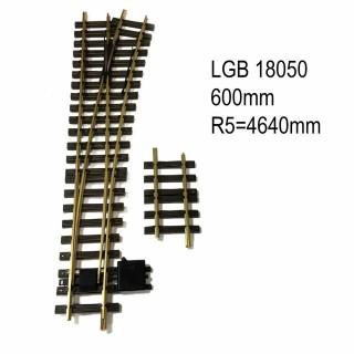 Aiguillage droit droit 600mm R5 4640mm 15 degrés train de jardin -G-1/28-LGB 18050