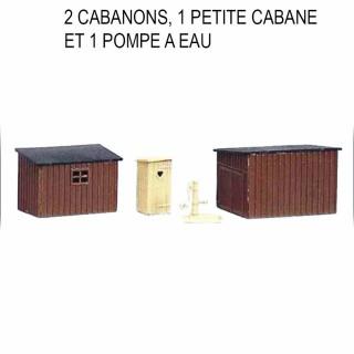 3 cabanons et une pompe à eau à monter -HO-1/87-SAI 452