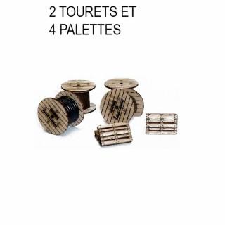 2 tourets électriques et 4 palettes à monter -HO-1/87-SAI 710