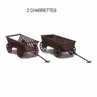 2 anciennes charrettes agricole à monter -HO-1/87-SAI 890