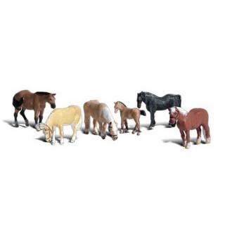 6 chevaux avec poulin -N-1/160-WOODLAND SCENICS A2141