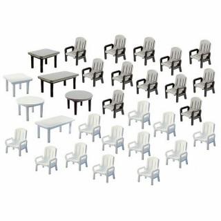24 chaises et 6 tables de jardin -N-1/160 -FALLER 272441