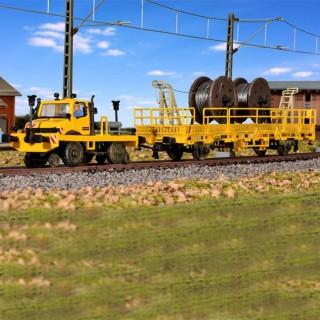 Unimog sur voie avec wagon caténaire -HO-1/87-KIBRI 16062