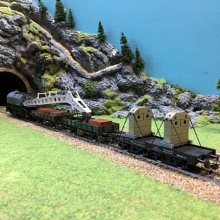 Convoi grue avec ses wagons-HO-1/87-FLEISCHMANN 1495-4 DEP33-02