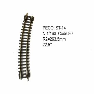 Rail Setrack courbe R 263.5mm 22.5 degrés code 80 -N-1/160-PECO ST-14