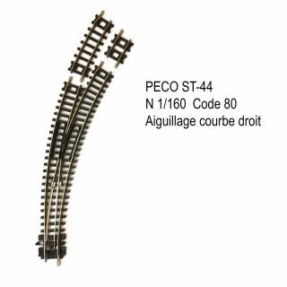 Rail Setrack aiguillage courbe droit code 80 -N-1/160-PECO ST-44