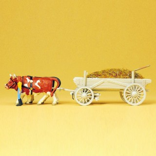 Charrette de foin avec 2 bœufs et personnage HO-1/87-PREISER 30474
