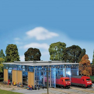 Hangar à locomotive électrique 3 voies-HO-1/87-FALLER 120217