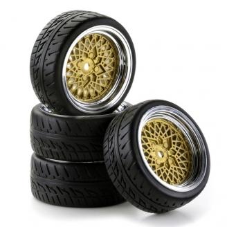 4 roues piste BBS Or et chrome Hexa 12 mm-1/10 1/12-CARSON 500900551