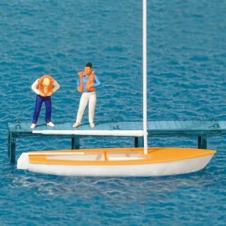 2 personnages + petit voilier - HO 1/87 - PREISER 10678