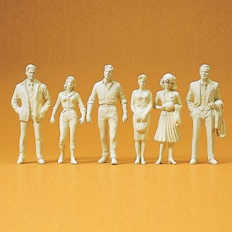 6 figurines à peindre - passants - G 1/22.5 - PREISER 45178