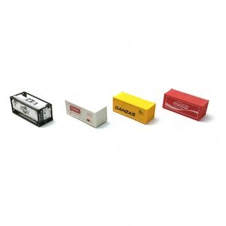 Lot de 4 Containers-HO 1/87-DEP58-150