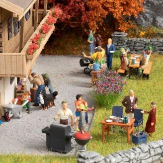 Set de 5 figurines + accessoires thème Barbecue-HO 1/87-NOCH 16200