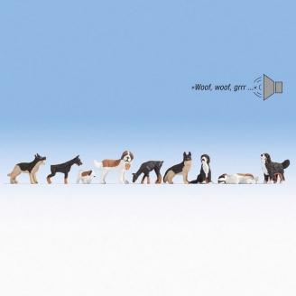 9 chiens + module sonore - HO 1/87 - NOCH 12852
