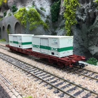 Wagon porte container S68 CNC SNCF Ep IV-HO 1/87-JOUEF HJ6195
