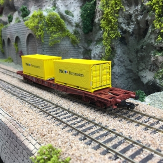 Wagon porte container S68 PO SNCF Ep IV-HO 1/87-JOUEF HJ6194