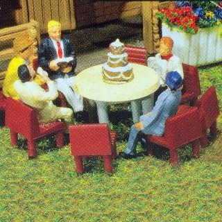 Set 7 tables et 48 chaises-HO-1/87-FALLER 180438