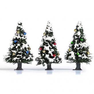 3 petits Sapins de Noël décorés - HO 1/87 - BUSCH 6464