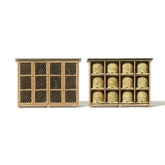 Cages à Lapins et Casiers à Ruches-HO 1/87-PREISER 17606
