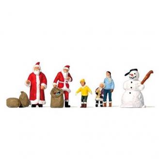 2 pères Noël avec des enfants et un bonhomme de neige - N 1/160 - PREISER 79226