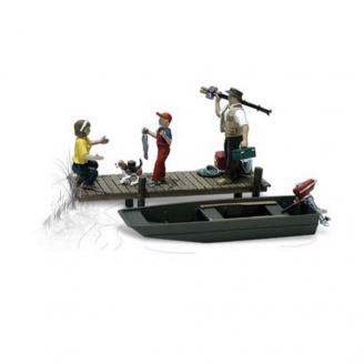 Famille à la pêche + Ponton et barque-HO 1/87-WOODLAND SCENICS A1923