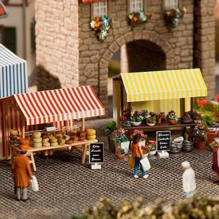 Set 2 Stands fleurs et fromages-HO-1/87-FALLER 180614