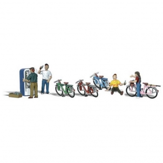 4 cyclistes + vélos et accessoires-N 1/160-WOODLAND SCENICS A2194