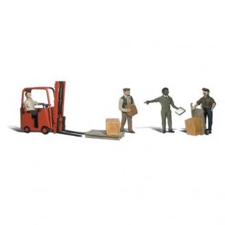 4 Travailleurs + 1 chariot élévateur-N 1/160-WOODLAND SCENICS A2192