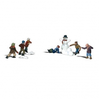 6 enfants + 1 Bonhomme de neige-N 1/160-WOODLAND SCENICS A2183