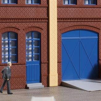 Portails et portes bleues, marches, rampes-HO 1/87-AUHAGEN 80255