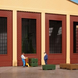 4 grands murs + fenêtres - HO 1/87 - AUHAGEN 80530
