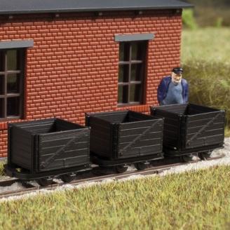 3 wagonnets à tourbe-HOf 1/87-AUHAGEN 41706