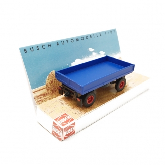 Remorque HW60 Bleue Pneus Route - HO 1/87 - BUSCH 53001
