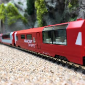 """4 voitures complémentaires RhB """"Glacier Express"""" SBB Ep VI -N-1/160-KATO 101146"""