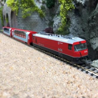 """Coffret 3 éléments RhB """"Glacier Express"""" SBB Ep VI -N-1/160-KATO 101145"""