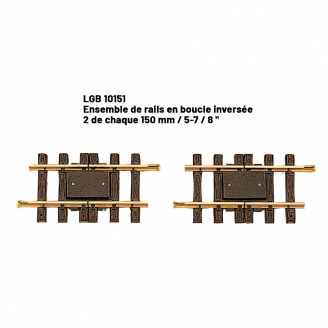 2 rails boucle inversée 150 mm train de jardin -G-1/22.5-LGB 10151