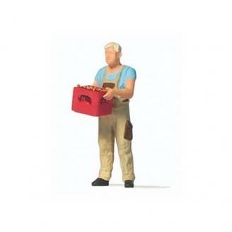 Homme portant une caisse-HO 1/87-PREISER 28234