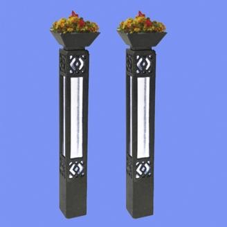 2 colonnes d'éclairage fleuries-HO-1/87-MABAR 60205HO