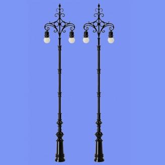 2 lampadaires ornementés classiques-HO 1/87-MABAR 60187HO