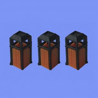 3 poubelles-HO 1/87-MABAR 60189HO