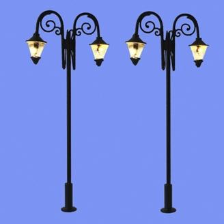 2 lampadaires doubles classiques-HO 1/87-MABAR 60204HO