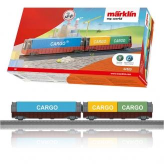 "Coffret de 2 wagons porte-conteneurs ""My World""-HO 1/87-MARKLIN 44109"