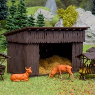 Abri, mangeoires et foin pour animaux-HO 1/87-VOLLMER 43798