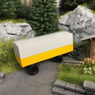 Remorque plateau / bâche à 2 essieux jaune / noir 1960-HO-1/87-BREKINA 55332