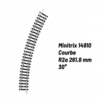 Rail Courbe R2a 261.8 mm 30°-N-1/160-MINITRIX 14910