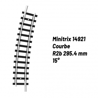 Rail Courbe R2b 295.4 mm 15°-N-1/160-MINITRIX 14921