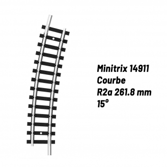 Rail Courbe R2a 261.8 mm 15°-N-1/160-MINITRIX 14911